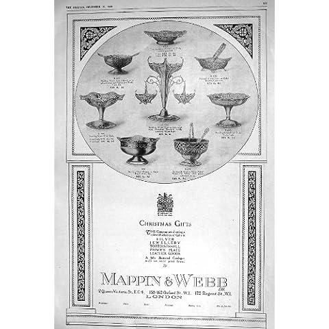 Cuenco 1920 De Ensalada Del Lavabo Del Azúcar Del Plato De La Plata De Webb Del Anuncio Mappin
