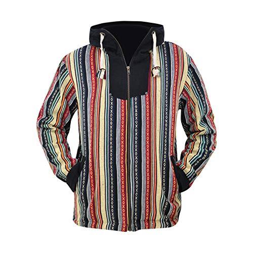 virblatt -Baja Jacke Poncho Herren Goa Hoodie Pullover Hippie Kleidung Ethno Mode - Maastricht M