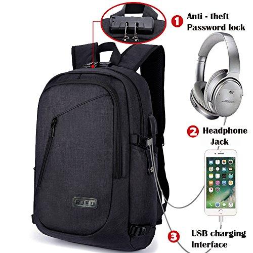 Schulrucksäcke Jungen, Laptoptaschen Rucksack mit USB-Ladeanschluss und Anti-Diebstahl Lock, 15.6 Zoll Laptop Tasche Wasserdicht für Freitzeit Arbeit Campus Schule Reise, Schwarz (Lock-datei)