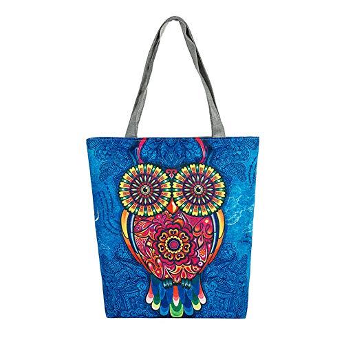 Nowbetter Damen Handtasche Canvas Umhängetasche Multifunktions Eule Print Lunch Tasche groß Kapazität Umweltschutz Lässige Tasche für Schule Arbeit, Reisen Shopping Style 2 37 * 27 * 8cm