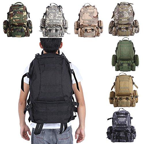 50L Outdoor Militare Molle Sacchetto Tattico Zaini Zaino Dell'annata Borse Campeggio Trekking Camouflage Resistente All'acqua 600D Black Snake