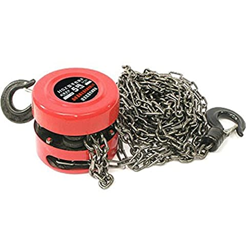 OUTAD 1 Ton Load Capacity Chain Lifting Block Hoist Tackle Puller Engine Heavy Duty Tool Winch Red Color Built in Safety