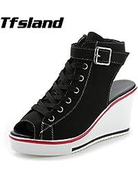 MUNNI Women Buckles Peep Toe Wedge Platform Canvas Shoes Sexy Female Summer Lace Up High Heels Sandals Walking...