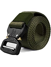 Cintura tattica di sicurezza larga 3,8cm, in resistente nylon, regolabile, in stile militare, con fibbia in metallo a sgancio rapido, per uomini e donne, Army Green