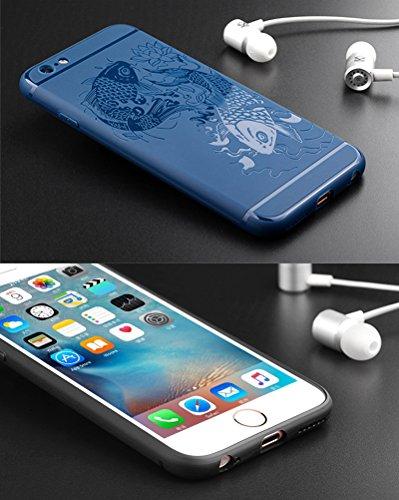 """MOONCASE iPhone 6s Coque -Poisson Creative 3D motif Housse Anti-dérapante Absorbant Chocs Protection Etui Silicone Gel TPU Case pour iPhone 6 6S 4.7"""" Gris Bleu Poisson"""