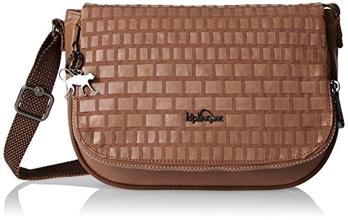 Kipling Earthbeat S, Damen Umhängetasche, Brown (Tan Weave), 26x17x7 cm (W x H x L)