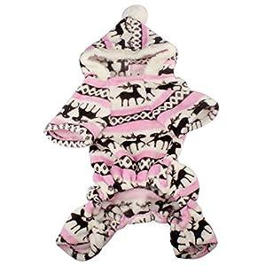 Ogquaton Manteau Chaud de Jumpsuit de Manteau de qualité de la Meilleure qualité d'habillement de Chien d'animal familier Rose, S