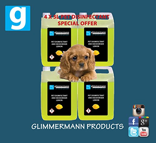 Glimmermann Pet Kennel Disinfectant and Deodoriser Cleaner Lemon 4x 5L