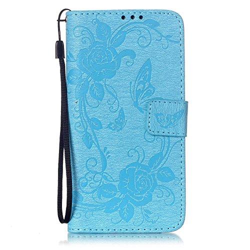iPhone 7 4.7 Custodia (Con Gratuito HD Proteggi Schermo) CaseHome Cacciatore di sogni Mandala Fiore Sbalzato Progettazione stile del libro Foglio flip magnetico Chiusura Costruito In Stand Full Body Cielo blu