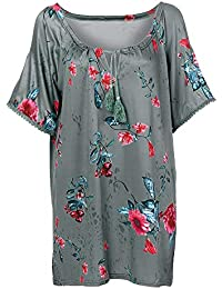 Moda Mujer Tamaño Grande Imprimir Camisa,Lonshell Sin Tirantes Tops Floral Impresión Blusa Encaje Las Mujeres Atractivas del Escote Redondo con Cordones De Manga Larga De Hombro Frío Camiseta
