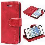 Mulbess Ledertasche im Ständer Book Case / Kartenfach für Apple iPhone SE / 5S / 5 Tasche Hülle Leder Etui,Wine Rot