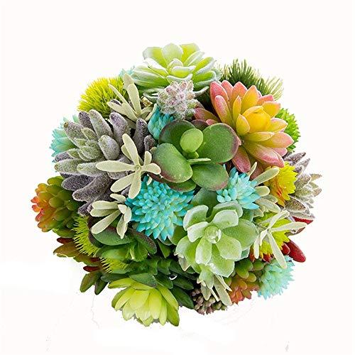 Bixialan Kunstblumen Hochzeit Braut Brautjungfer Bouquet Hochzeit halten Blume künstliche Pfingstrose Rose Green Plant fleischig für Hochzeit Kirche Party Home Decor (Strauß) -