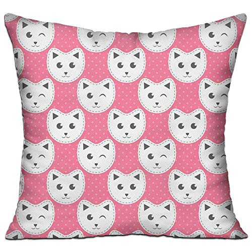 fdgjfghjdfj White Cat Pink with Dots,Pillow Covers Decorative Pillowcase Cushion Covers with Zipper 18x18 Inches