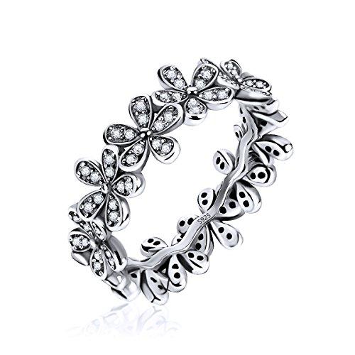 Silber Blumen Finger Ringe mit Dazzling Daisy Meadow für Frauen & Mädchen (O) (Silber Blumen-ring)