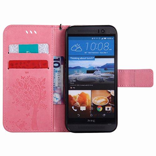 Custodia HTC One M9 / HTC One Hima Cover Case, Ougger Fortunato Foglia Stampa Portafoglio PU Pelle Magnetico Stand Morbido Silicone Flip Bumper Protettivo Gomma Shell Borsa Custodie con Slot per Sched Rosa Chiaro