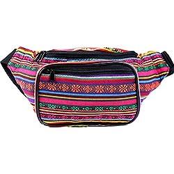 SoJourner Bags Riñonera - Tribal Boho hippie tejido Eco estilo un tamaño Tela de tejido de algodón raya bohemio (naranja Horizontal)