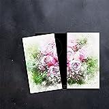 DAMU |Ceranfeldabdeckung 2 Teilig 2x30x52 cm Herdabdeckplatten Blumen Elektroherd Induktion Herdschutz Spritzschutz Glasplatte Schneidebrett Grün Natur