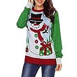 TianWlio Weihnachten Pullover Langarmshirt Bluse Hoodie Frauen Herbst Winter Weihnachten Weihnachten Schneemann Drucken Langarm Bluse Shirt Top Pullover (L, Grün)
