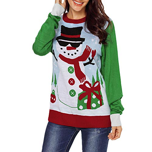 Christmas Damen Pullover UFODB Elegant Frauen Weihnachtspullover Weihnachten Xmas Print Sweatshirt Shirt Ladies Sport Winterpullover Freizeit Sweater Bluse Tops