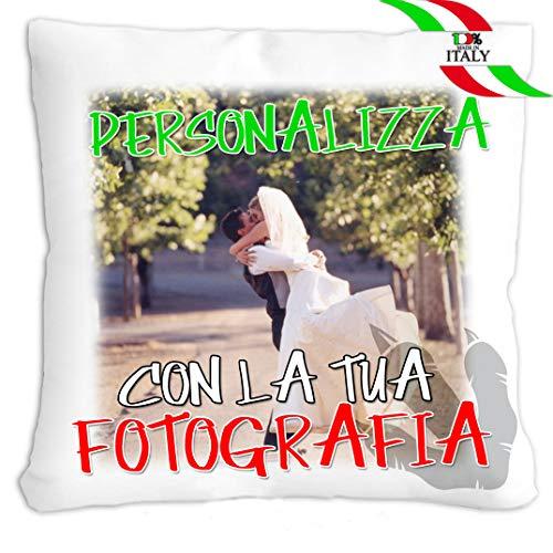 20giugno cuscino personalizzato con foto o frase - misura 40x40 - con morbida imbottitura in ovatta (rosso)