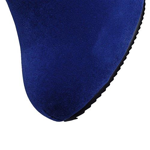 AgooLar Femme Rond Suédé Haut Bas à Talon Haut Bottes avec Métal Bleu