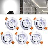 Hengda Einbaustrahler 6er pack 3W LED Kaltweiß Deckenstrahler Spot Lampe Treppe Küchen Decke Einbau Spots Strahler mit Travo Einbauleuchten IP44