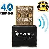 Zoweetek® Adaptador USB Bluetooth 4.0 Dongle de | Mini adaptador USB Bluetooth. Plug & Play | Compatible con Windows 10 / 8,1 / 8 / 7 / XP / Vista | Rango 10 m