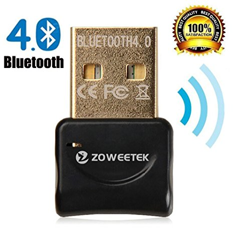 Zoweetek® Adaptador USB Bluetooth 4.0 Dongle de | Mini adaptador USB Bluetooth. Plug & Play | Compatible con Windows 10 / 8,1 / 8 / 7 / XP / Vista | Rango 10