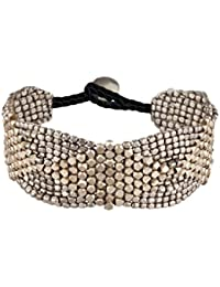 81stgeneration Silber Ton Messing Diamant Muster Kleine Facettenperlen Armband