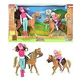 Toi-Toys Puppe mit Pferd Set Zwei Reiterinnen mit Pferd und Fohlen