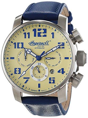 Ingersoll in1224scr–Watch Men–Automatic–Chronograph–Bracelet Cuir Bleu