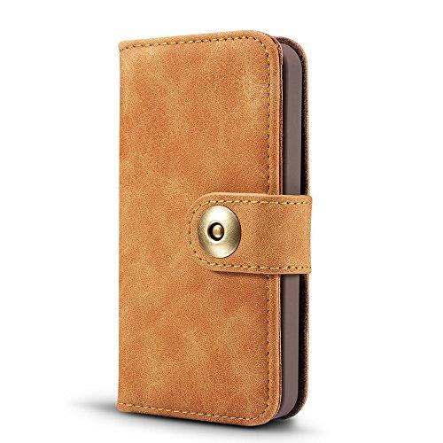 EKINHUI Case Cover Retro Style abnehmbare magnetische Leder Tasche mit großem Capard Card Cash Slots und Secure Niet Gürtelschnalle für iPhone 5 5s und SE ( Color : Blue ) Khaki