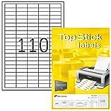TopStick 8727 Universal Etiketten (DIN A4, 38,1 x 12,7 mm) selbstklebend bedruckbar 100 Blatt permanent haftend matt weiß