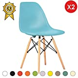MOBISTYL Promo 2 x Chaise Design Inspiration Eiffel Pieds Bois Clair Assise Bleu Ciel DSWL-BL-2