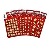Herma 15500 Sterne Aufkleber Weihnachten, gold, 423 Sticker in 5 verschiedenen Formaten, Weihnachtssticker Deko golden glänzend