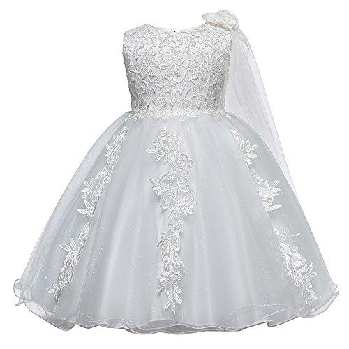Toamen pizzo ragazza tutu abito tulle, estate senza maniche principessa damigella d'onore pageant abito da sposa per festen scialle in maglia di fiori(bianca,80)