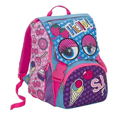 aeed582144 Seven Mochila sdoppiabile Schoolpack Girl SJ GANG caras de sj Girl +  Estuche 3 cremallera completo