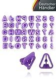 KrevoArt Fondont Ausstechform Ausstecher Set – 40 Teilig – Buchstaben, Zahlen und Satzzeichen für Eine Dekorative Tortengestaltung – Geeignet für Anfänger und Profis