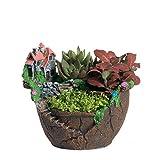 NCYP Fairy Garden Miniature Broken Flower Pot Villa Sweet House on the Cliff Sky Castle Sculpture Planter Red