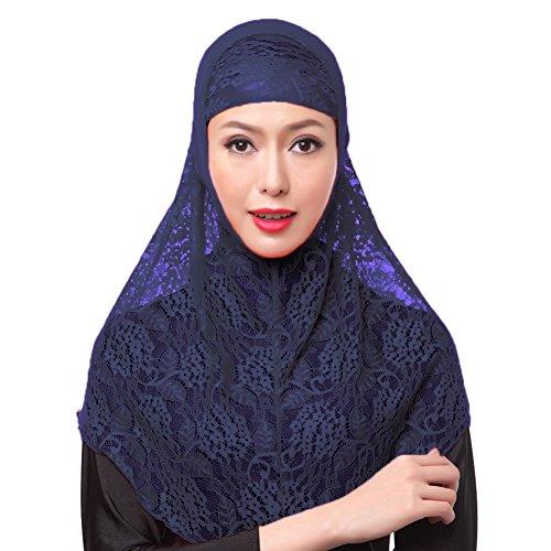 iBaste Kopftuch Damen Muslim Kopftuch Spitzen Hijab Islamischen Schal Weicher Einfarbig-DU
