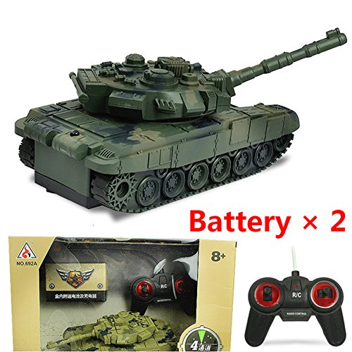 4-Means RC Tank 1/20 Scaled-Down 4CH 27Mhz Infrared RC Battle Tiger T90 Tank Cannon Emmagee Distant Management Armed Forces Tank Fort Rotate Preventing Tank Toy With Mild Music And Constructed-In Batteriy (Army inexperienced +2 batteries) Overview