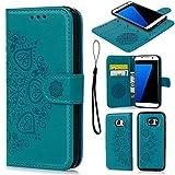 Geniric Handy Hülle für Samsung Galaxy S7 Edge Leder Flip Wallet Cover Stand Case Card Slot Leder Tasche TPU 2 in 1 Design Karteneinschub Magnetverschluß Kratzfestes (Blau Hälfte Blume)