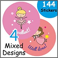 144 Girl themed 30mm reward stickers