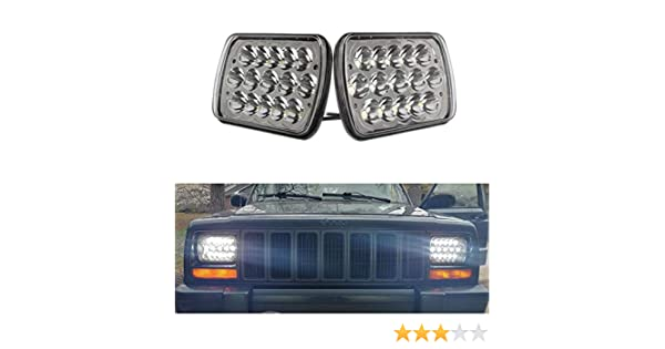 SXMA Lot de 2 phares LED 7 x 6 45 W 5 x 7 LED Phares 6054 LED H//bas Remplacement pour camion H6054 H5054 6052 Wrangler YJ Cherokee XJ