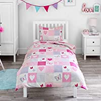 Bloomsbury Mill - Hearts & Butterflies Patchwork - Girls Bedding Set - Pink - Single Duvet Cover and Pillowcase