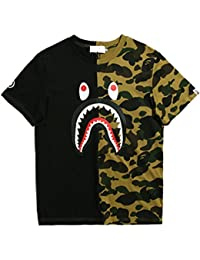 ETASSO Herren T-Shirt Haifischkopf 3D Drucken Baumwolle Top Mit kurzem Ärmel