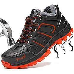 SUADEEX Mujer Hombre Invierno Zapatillas de Seguridad Botas con Puntera de Acero Impermeables Zapatos de Trabajo Entrenador Unisex Zapatillas de Senderismo