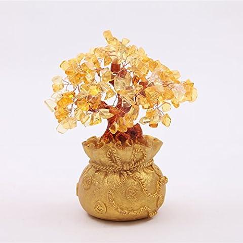 Feng Shui, colore: giallo citrino cristallo albero di denaro in una borsa per denaro braccialetto portafortuna + Rosso, SKU: H1011