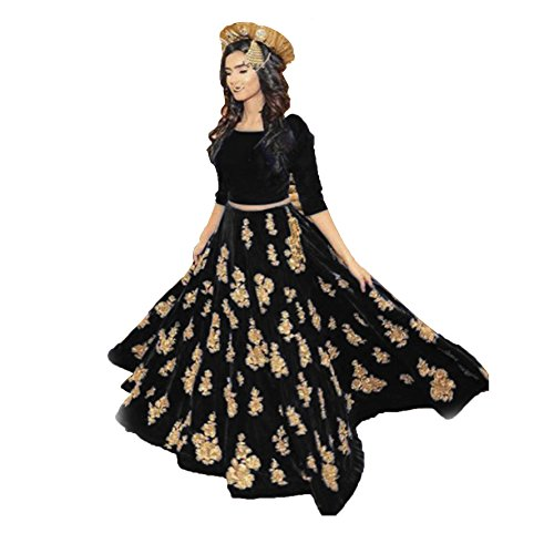 Fabini Party Wear Heavy Embroidered Black Velvet