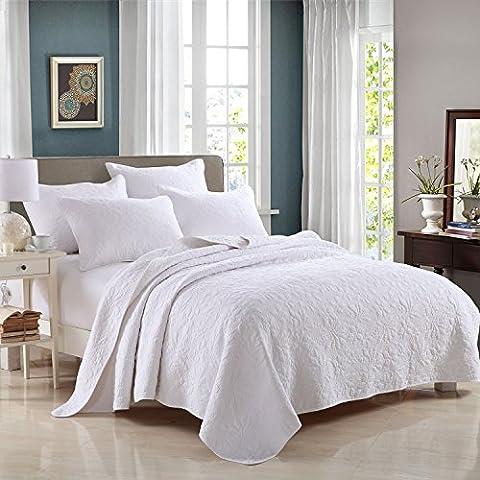 Beddingleer King Size 3pcs Extreme luxury Cotton White Patchwork Quilted Bedspread Set Printed Vintage Collection Handmade Bedding Quilt/Sham Set